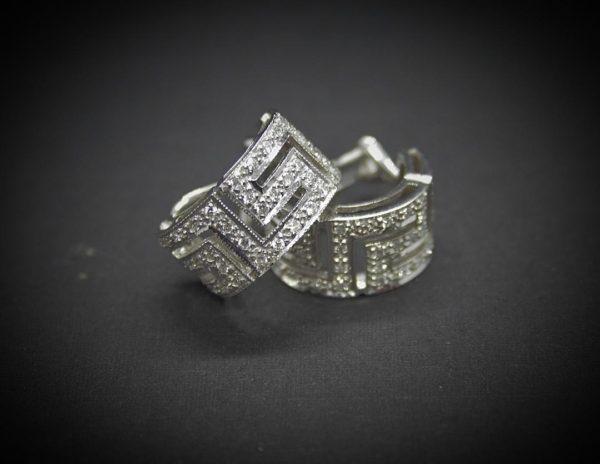 Pendientes Oro Blanco 1ª Ley con Diamantes.