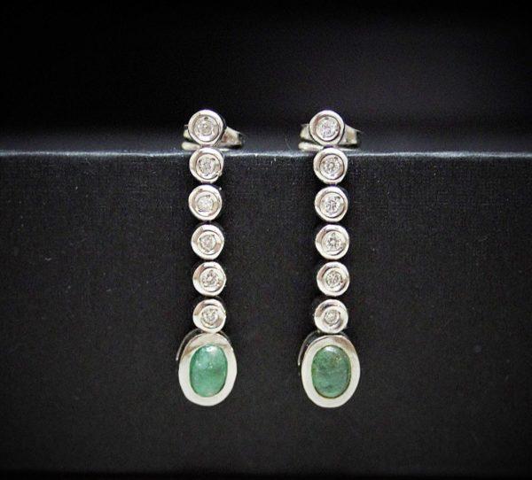 Pendientes de Diamantes y Esmeralda oro blanco 18kt