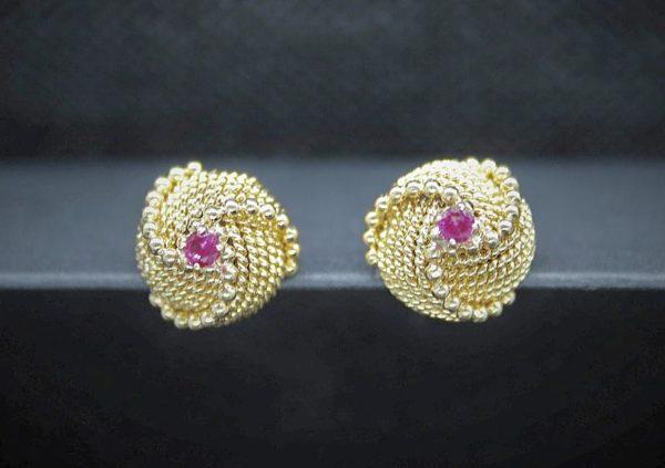 Pendientes de Bola con piedra Rosa realizados en Oro de 1ª Ley