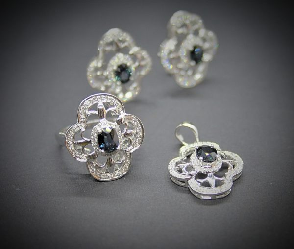 Conjunto de Oro blanco de 1ª Ley con Diamantes